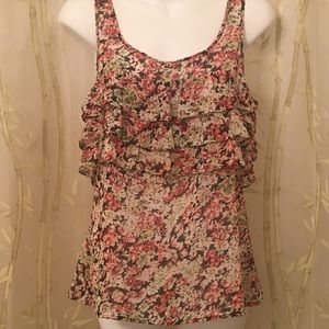 Express Ruffled Floral Sleeveless Top
